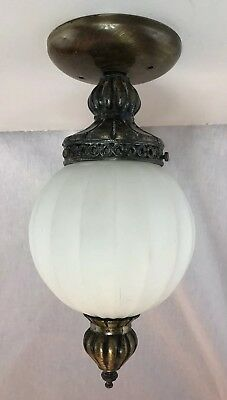 Vintage Ceiling Light Mid Century Victorian Brass Frosted Glass Globe