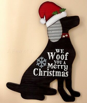 Dog Christmas Pet Wall Art Plaque Sign Holiday Country Home Decor