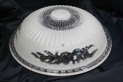 Vintage Art Deco Embossed Glass Ceiling Light Shade Satin Frosted Clear Flower