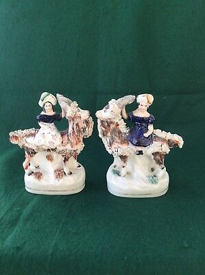Antique Staffordshire figures of Prince and Princess on goats (5.5 inches)