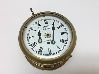Vintage Smiths 8 Day London Ships Clock Brass Maritime w/ Key Needs Repair