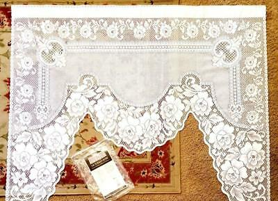 """Heritage Lace VICTORIAN ROSE One Piece Swag Valence White 60"""" x 48"""" New 2860W-S"""