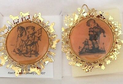 The Hummel Gold Christmas Ornament Collection Lot of 2 1988 24K Gold Filigree