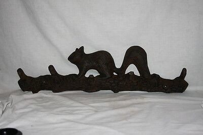 Vintage Cast Iron Squirrel on Tree Branch Coat Hat Rack Wall Mount