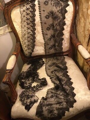 2 Pieces Early Fine Black Lace . Useable