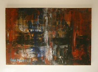 """A Large Abstract  Oil Painting """"distortion""""  - Signed"""