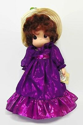 "Precious Moments Doll 1999 Purple Dress Straw Weave Hat Red Flowers 16"" Girl"