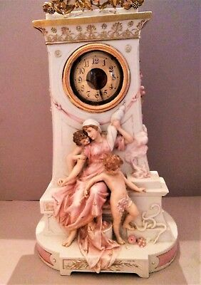 Vintage French Porcelain Clock Mythology Amphitrite & The Cherubs
