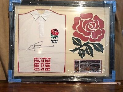 Jonny Wilkinson Framed Signed England Rugby Shirt World Cup Embroidery Proof