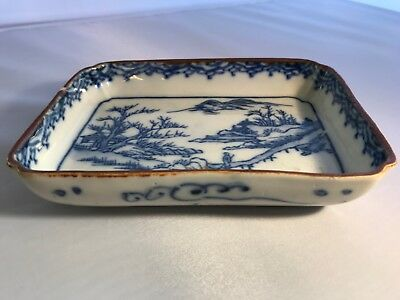 Antique Vintage Blue White Asian Chinese Square Plate Dish 6X4 Diameter 1 1/8 T