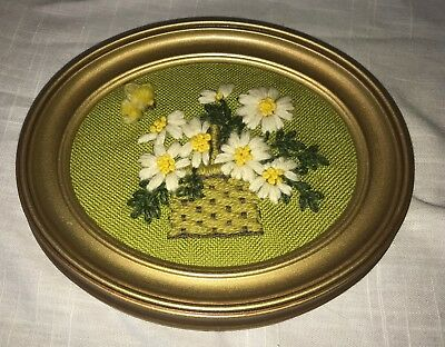 "Vintage 1970s 6"" HAND MADE Embroidered Daisies in Basket Picture w/ Frame"