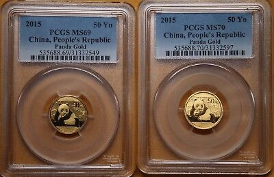 Two 1/10th ounce Gold Pandas. Both PCGS. One MS70 & one MS69