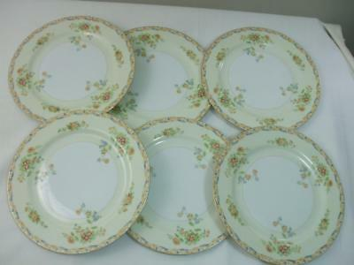 """6 Vintage Hand Painted Floral 9 3/4"""" Dinner Plates White Porcelain Made in Japan"""