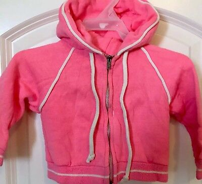 VTG 70s 80s PENNEYS TODDLER TIME TwoTone FullZip Hoodie Sweatshirt BRIGHT PINK 1