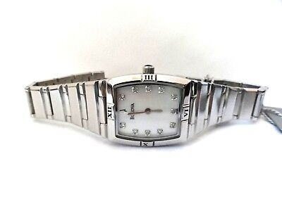 Bulova 96P000 Diamond Accent Mother-of-Pearl Dial Silver Tone Women's Watch