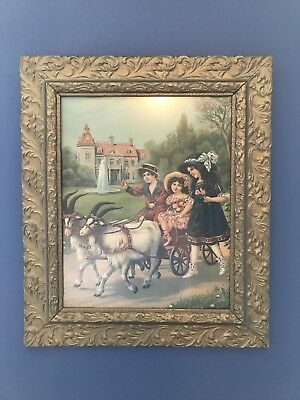Antique Framed Print Of Girls And Goat Wagon