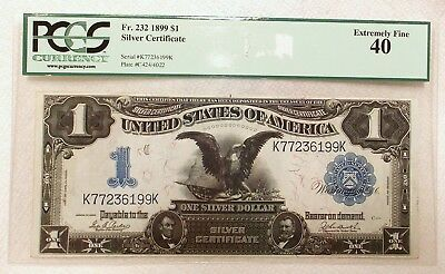 1899 PCGS XF40 FR 232 One Dollar Silver Certificate Note Currency Blue Seal KK