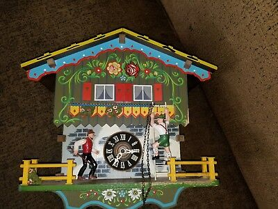 Vintage WEST GERMANY~Hand Painted~Musical Animated~GERMAN CUCKOO CLOCK~3 Weights