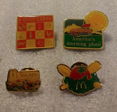 Lot of 4 Mixed McDonald's 1980's to 1990's Collectible Lapel Pins(Z)
