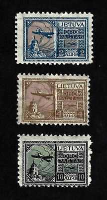Lithuania 1922 airmails set, plane over Gediminas Castle, complete set ... MH *