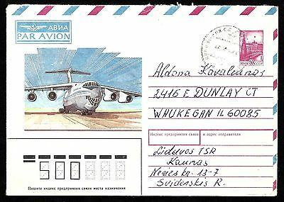 Soviet Lithuania 1988 aviation cover … sent from Kaunas to Illinois USA