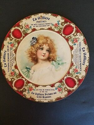 "Antique 1900s PERFUME ADVERTISING POSTER,SIGN ""LA VALLIERE"" TALCUM POWDER.FRANCE"