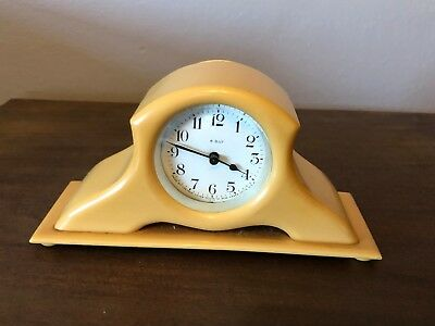 Beautiful Antique New Haven Clock 8-Day Ivory Acwalite Miniature Mantel 1920s