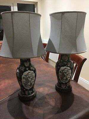 """Large Quality Vintage Oriental Chinese Table Lamp Black Ceramic Antique 26"""""""