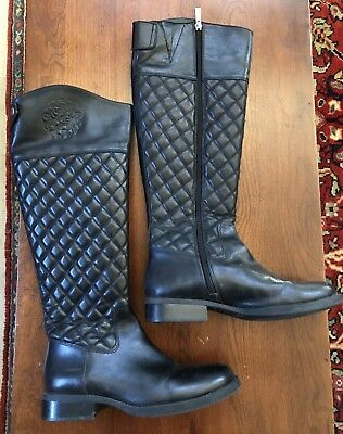 9d76962a2dd VINCE CAMUTO FAYA boot black quilted leather riding style 7.5 wide ...