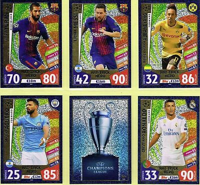 2017 2018 Topps Match Attax UEFA Champions League HAT-TRICK HERO Set 6 cards