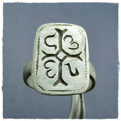 ** CROSS with MONOGRAM ** ancient  SILVER BYZANTINE or MEDIEVAL ring !!!