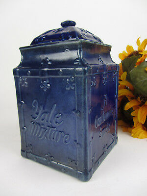 Antique Cobalt Blue 'Yale Mixture' Earthenware Advertising Tobacco Jar Canister