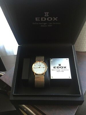 Edox Gold Plated Gents Sapphire Glass Swiss Watch Ref.61100