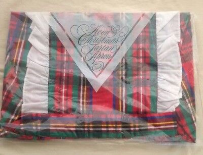 Vintage Avon 1986 Red Green Plaid Full Apron Christmas Tartan Plaid
