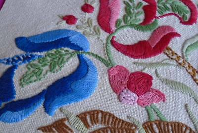 Stunning Vintage Hand Embroidered Jacobean Style Wool Panel~Superb Stitch Work