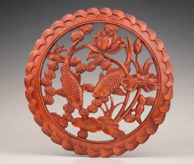 Wood Carving Hollowed Out Large Plate Fish Lotus Decorative Engraving