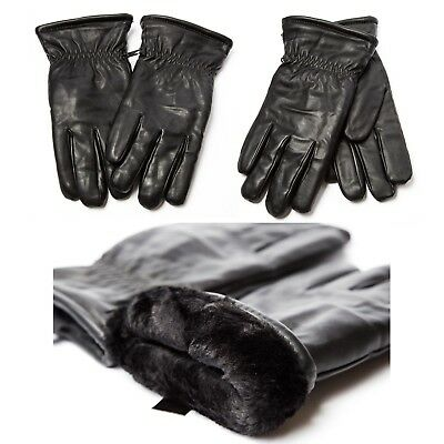Unisex Faux Leather Super Thick W/Fur Lined winter Warm Gloves Men Woman Driving