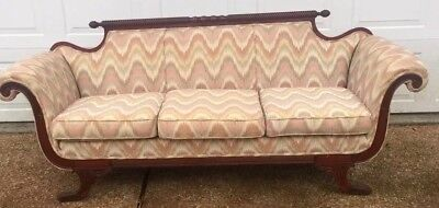 Vintage Duncan Phyfe Mahogany Carved Claw Feet Sofa Couch Florentine Tapestry