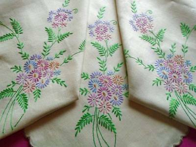 Pretty Vintage Hand Embroidered Linen Tablecloth~Superb Coloured Floral Bouquets