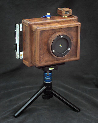 Karlos 164. 4x5 pinhole camera with 100mm focal length and viewfinder.