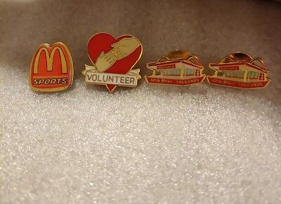 Lot of 4 Mixed McDonald's 1980's to 1990's Collectible Lapel Pins(BB)
