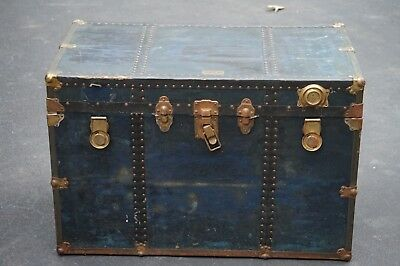 Beautiful Blue Antique Steamer Trunk. Non-Breakable Trunk Company, New York.