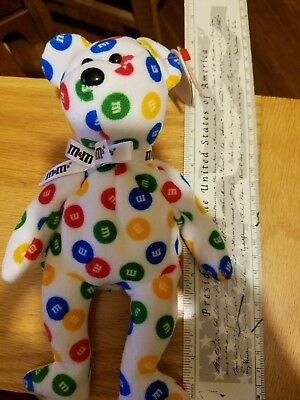 M and M's Ty Beanie Babies Multicolored dots 2008 Retired NEW RARE