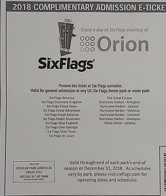 1 Six Flags 2018 Complimentary Admission E-Ticket - Expires 12/31/18