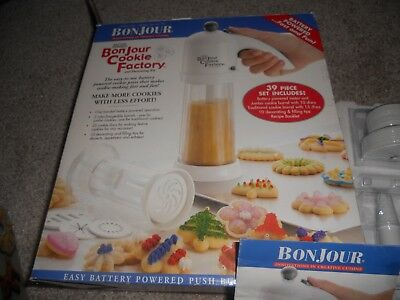 Brand NEW BONJOUR COOKIE FACTORY & DECORATING KIT COOKIE PRESS BATTERY OPERATED