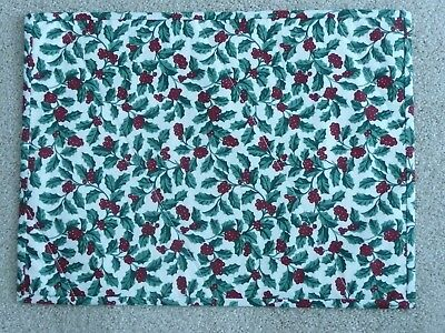 NEW Handmade 4 placemats Longaberger Traditional Holly, Christmas, Holiday Red