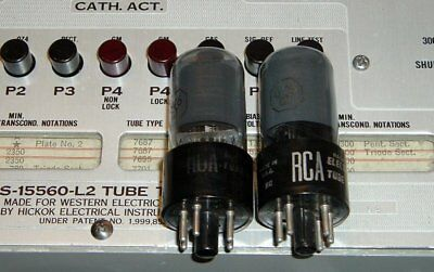 2 RCA 6V6GT smoke glass silver label tubes Hickok tested strong matched pair