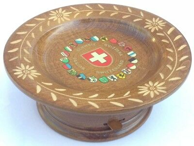 Vintage Rotating Mahogany Dish & Swiss Reuge 'Love Story' Mechanism