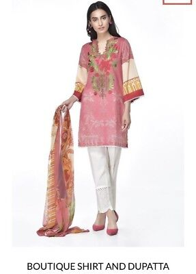 Ethnic By Outfitters Large Cotton Embroidered Kurta With Chiffon Dopatta