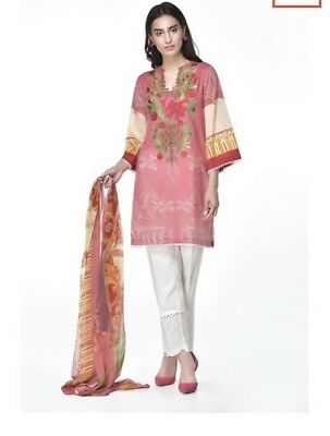 Ethnic By Outfitters Medium Embroidered Cotton Kurta With Chiffin Dopatta